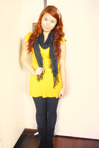 mustard knitted Kamiseta top - black Heel and Sole boots