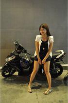 white Forever 21 blazer - black Forever 21 top - random brand shorts - sewn shoe
