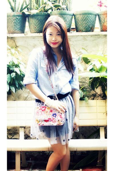 blue babo top - black Bazaar in Greenhills skirt -