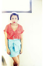 Coral-pink-manila-top-aquamarine-glitterati-skirt-silver-forever-21-necklace