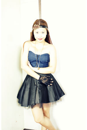 blue Pink Manila top - black DIY skirt - black Forever 21 gloves - random brand