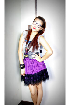 gray Forever21 top - purple Forever21 skirt - black Forever21 necklace - black F