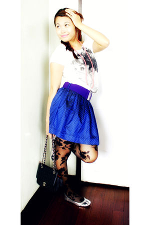 white Chili from SM top - purple Forever 21 belt - blue Forever 21 skirt - black