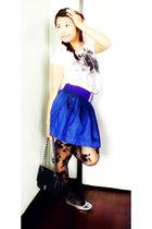 white Chili from SM top - purple Forever 21 belt - blue Forever 21 skirt - black