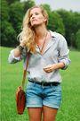 White-shirt-brown-vintage-purse-blue-never-denim-shorts