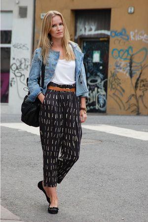 black weekday pants - brown vintage belt - blue H&M jacket