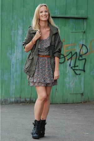 black wedges Din Sko boots - floral Zara dress - green army H&M jacket