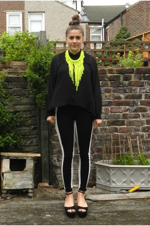 black panelled asos leggings - lime green neon H&amp;M necklace