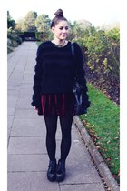black fluffy Topshop jumper - black Urban Outfitters shoes