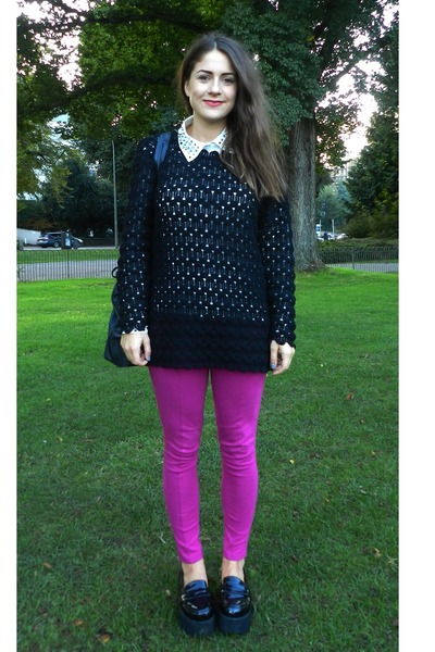 black flatform Office loafers - hot pink H&M leggings