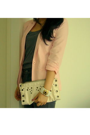 pink blazer - gold sportsgirl australia accessories - white vintage purse - gray