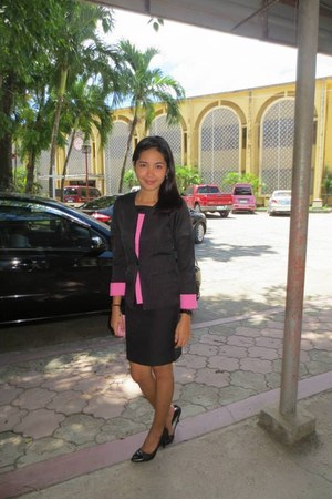 black and pink blazer - black strapped watch - skirt - black leather heels