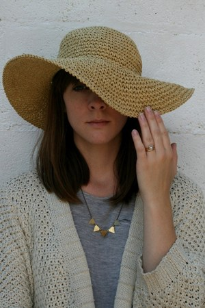 beige French Connection hat - silver cotton next t-shirt - cream Oasis cardigan