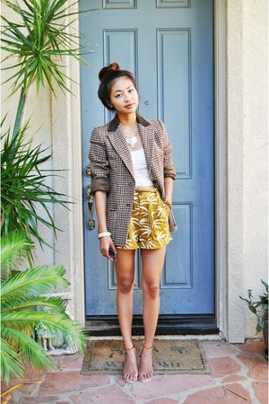 brown vintage plaid blazer - mustard printed Forever 21 shorts