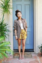 brown vintage plaid blazer - mustard printed Forever 21 shorts