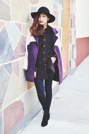 deep purple coat - black Zara bag