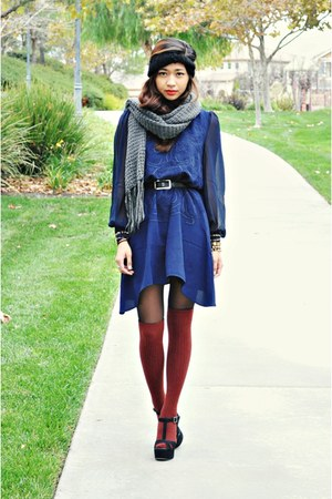 Sugarlips dress - knitted Forever 21 scarf - H&amp;M socks - sandals Aldo wedges