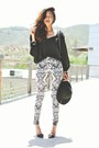 Black-pointed-strappy-zara-heels-white-tribal-print-h-m-pants