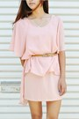 Light-pink-choies-dress-cream-forever-21-blazer-eggshell-zara-heels