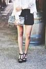 Black-forever21-shorts-black-sand-heels-aldo-wedges