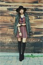 Carrot-orange-patterned-sugarlips-dress-army-green-forever-21-coat
