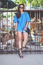 teal Hokkfabrica top - turquoise blue floral lace furor moda shorts