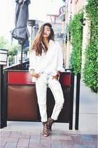 white Zara jeans - camel lace-up cheetah Zara heels