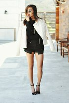 cream studded woven Forever21 blazer - black gold knit Rehab jumper