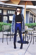 navy high waisted American Apparel jeans - gray Choies cardigan