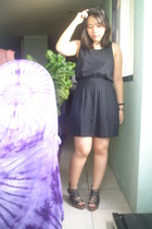 black Topshop dress - black tonic shoes - black given by my friend accessories -