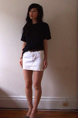 white denim mini