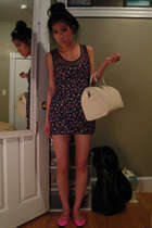 white purse - pink Forever 21 shoes - loveandbraveryblogspotcom dress