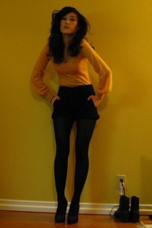 yellow H&amp;M sweater - purple Jessica Simpson shoes - black H&amp;M shorts