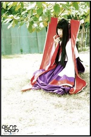 purple hanbok dress - bubble gum hanbok top - red headband handmade accessories