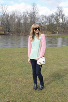 black Aldo boots - navy AG Jeans jeans - light pink H&M sweater