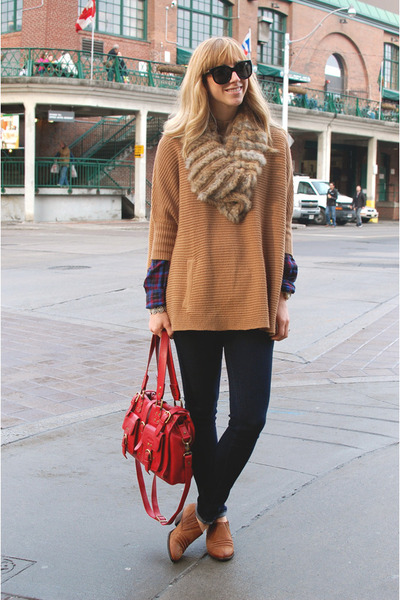 brown Topshop shoes - navy AG Jeans jeans - light brown H&M sweater