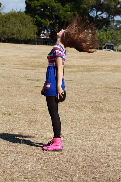 blue thirfted dress - black Glassons tights - pink doc martens shoes - black thr