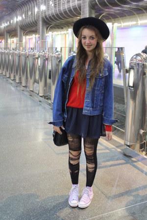 red vintage jumper - black vintage hat - blue vintage jacket - navy supre skirt