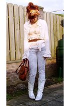 white belt - pink blouse - pink H&M top - gray New Yorker jeans - white boots -