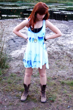 Zara dress - Zara dress - vintage boots -  necklace