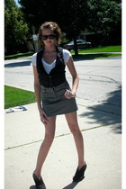 Forever21 vest - striped skirt - Nordstrom t-shirt - Salvation Army shoes - Ray