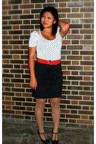 white Agaci shirt - red vintage belt - gray New York & Co skirt - black Rampage