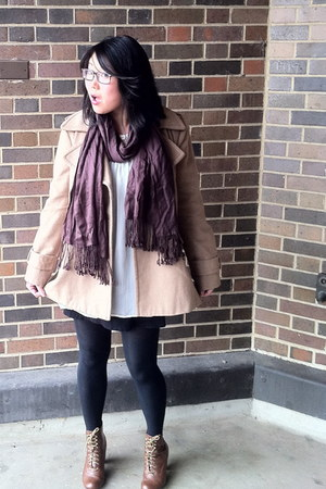 camel Forever 21 coat - brown boots - ivory H&M top