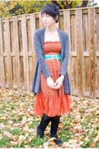 burnt orange papaya dress - turquoise blue vintage belt - gray Forever21 cardiga