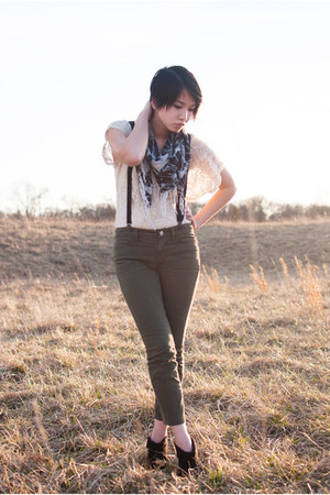 black wedge Kelsi Dagger boots - off white lace top - olive green BDG pants