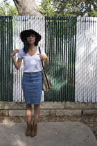 sky blue thrifted skirt - brown Dolce Vita boots - brick red H&M hat