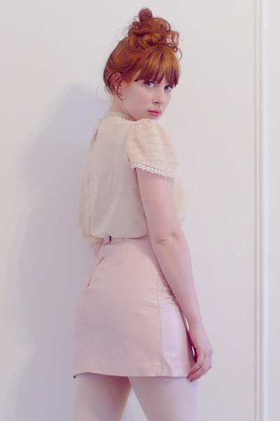 pink leather vintage skirt - beige vintage blouse