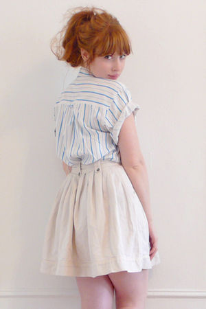 blue vintage blouse - white vintage skirt