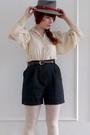 White-vintage-blouse-gray-vintage-shorts-gray-vintage-hat-white-american-a