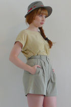 green My Loved One blouse - green My Loved One shorts - gray vintage hat